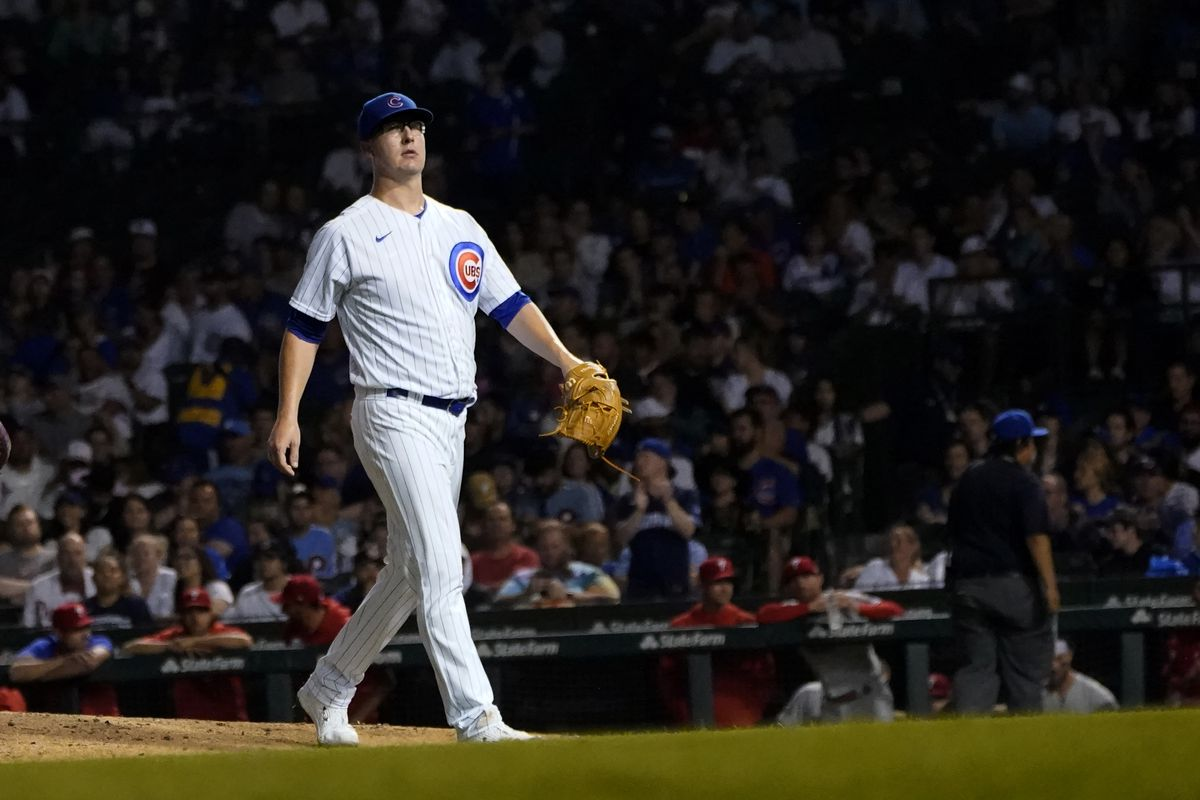 Cubs starting pitcher Alec Mills leaves Wednesday's game during the sixth inning.