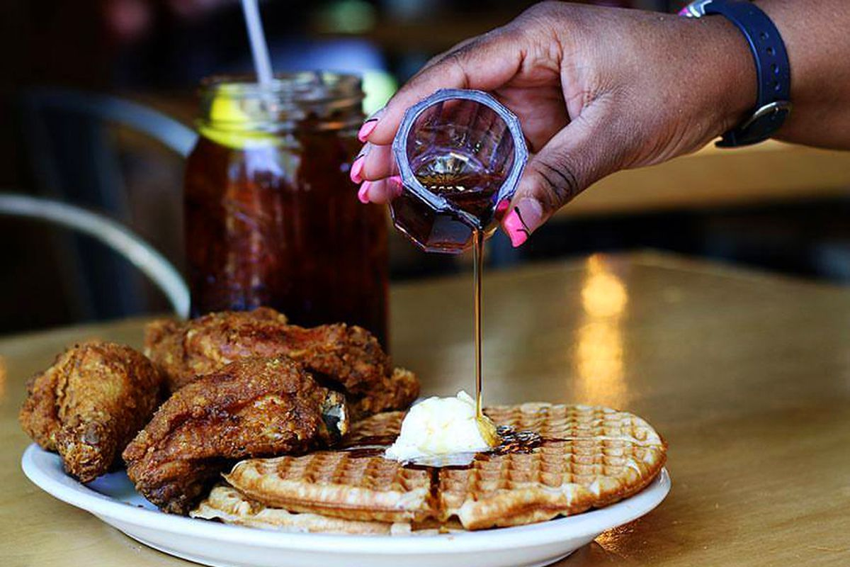 The signature dish of chicken and waffles, on the menu from owner Larry White at Lo-Lo's Chicken & Waffles.