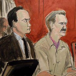 In this courtroom illustration, defendant Viktor Bout, right, is seated next to his defense lawyer Albert Dayan at the federal courthouse in New York, Thursday, April 5, 2012. The Russian arms dealer dubbed the Merchant of Death for his history of arming violent dictators and regimes was sentenced to 25 years in prison, far short of the life term prosecutors sought for his conviction on terrorism charges that grew from a U.S. sting operation.