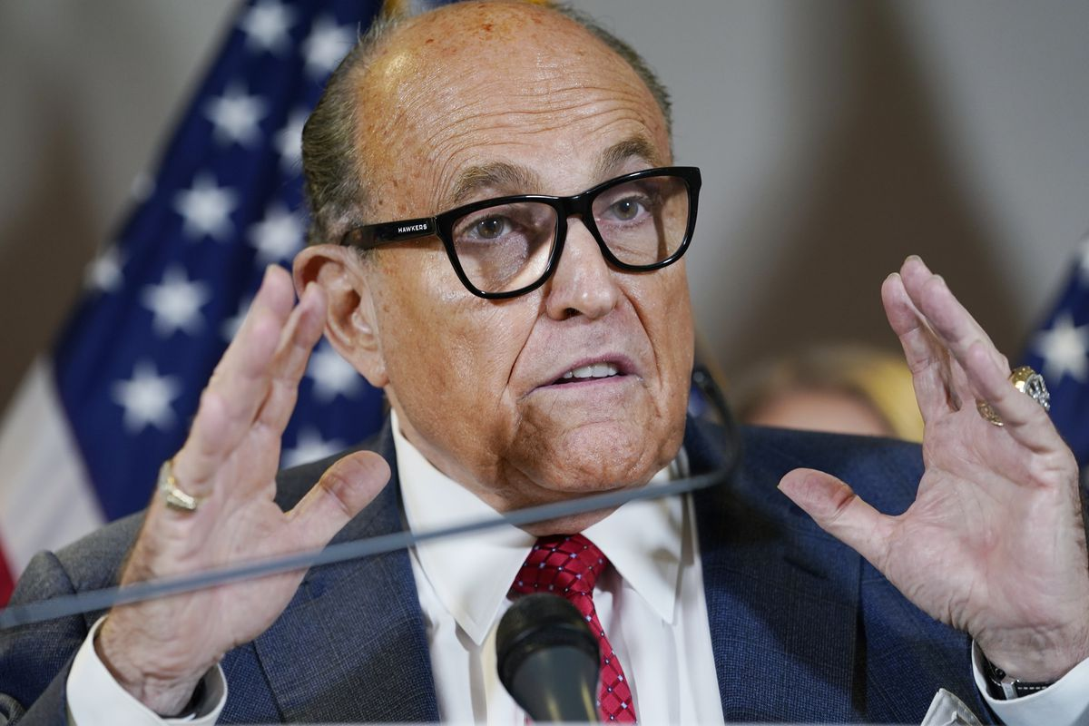 In this Nov. 19, 2020, file photo, former New York Mayor Rudy Giuliani speaks during a news conference at the Republican National Committee headquarters in Washington.