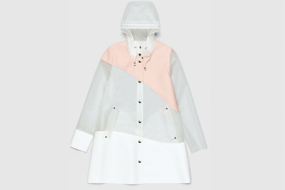 A translucent, white, and pink raincoat