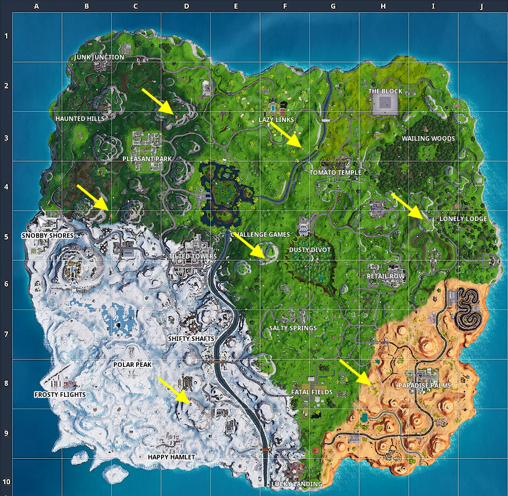 Fortnite Expedition Outposts map locations