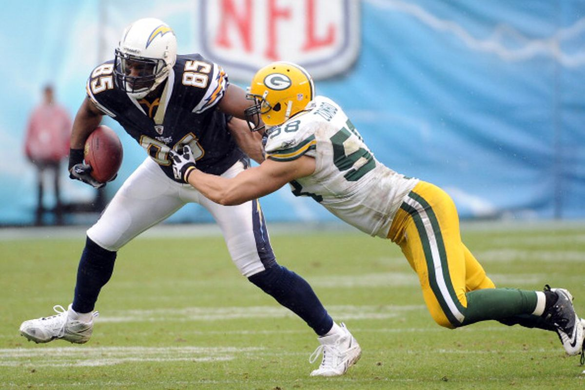 SAN DIEGO, CA - NOVEMBER 06: Antonio Gates #85 of the San Diego Chargeirs is tackled by Frank Zombo #58 of the Green Bay Packers at Qualcomm Stadium on November 6, 2011 in San Diego, California. (Photo by Harry How/Getty Images)