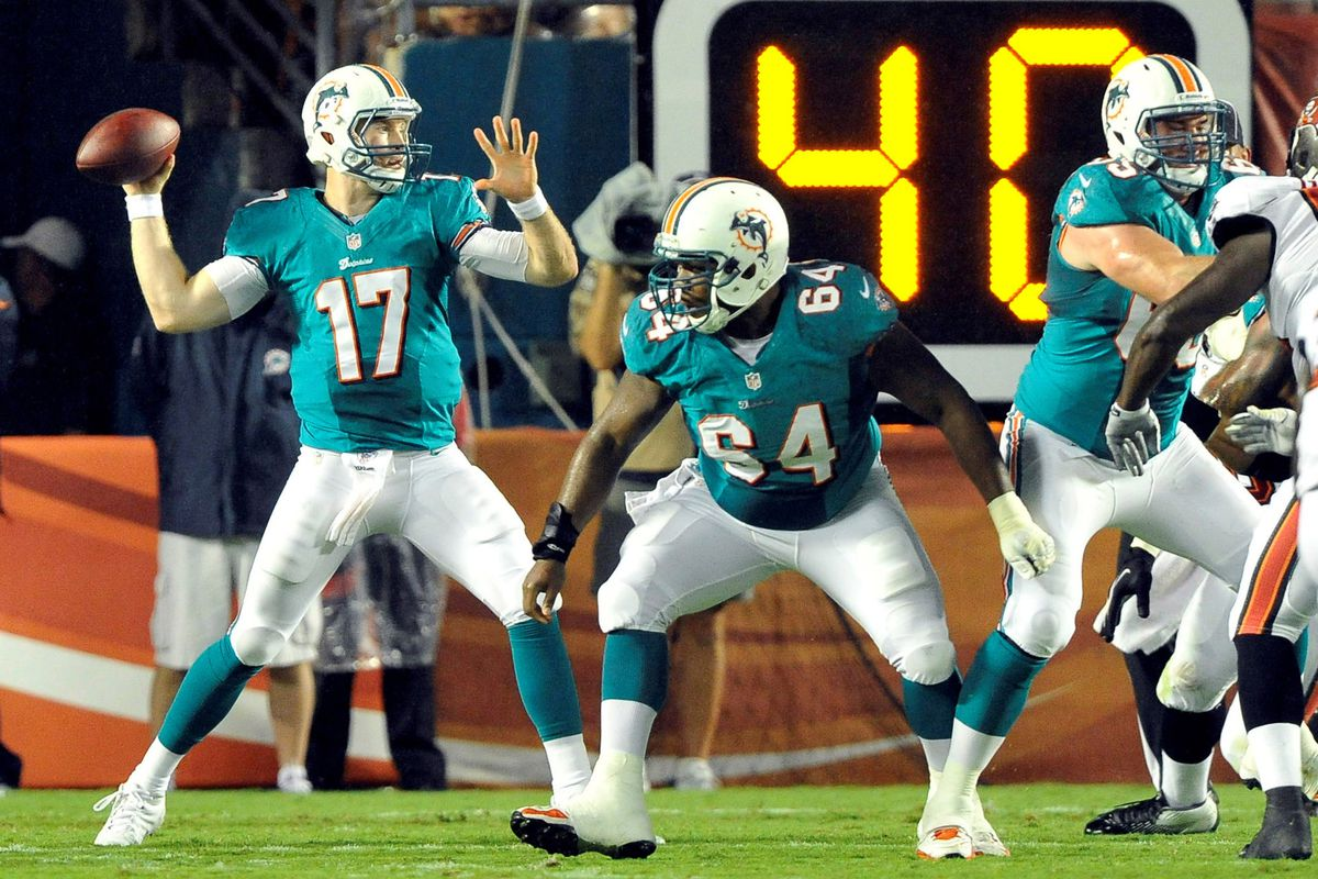 August 10, 2012; Miami Gardens, FL, USA;  Miami Dolphins quarterback Ryan Tannehill (17) throws a pass during the second quarter of the game against the Tampa Bay Buccaneers  at Sun Life Stadium. Mandatory Credit: Brad Barr-US PRESSWIRE