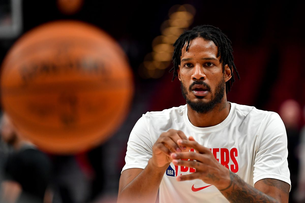 Trevor Ariza of the Portland Trail Blazers warms up before the game against the Phoenix Suns at the Moda Center on March 10, 2020 in Portland, Oregon.