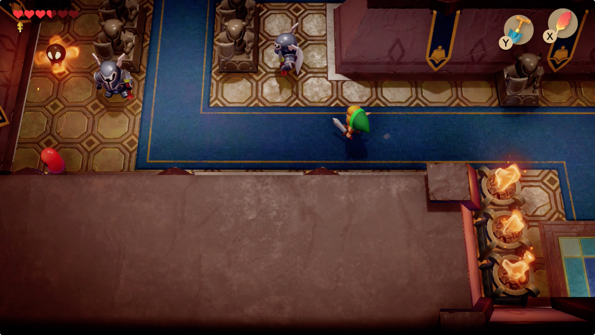 Link's Awakening Kanalet Castle defeat the enemies to get the third Golden Leaf