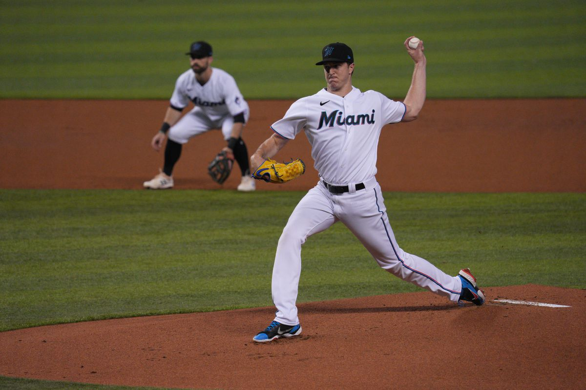 Trevor Rogers #28 of the Miami Marlins delivers a pitch against the Colorado Rockies at loanDepot park on June 10, 2021 in Miami, Florida.