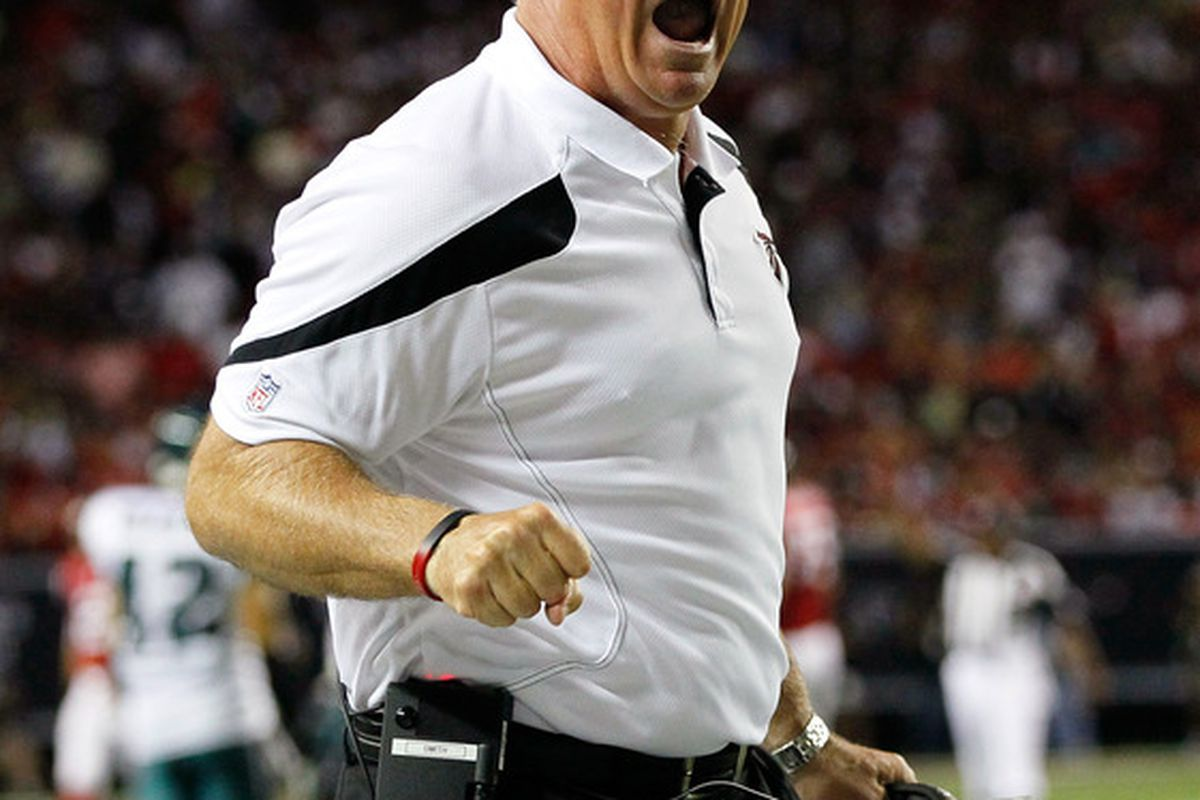 ATLANTA, GA - SEPTEMBER 18:  Mike Smith of the Atlanta Falcons yells at an official during the game against the Philadelphia Eagles at Georgia Dome on September 18, 2011 in Atlanta, Georgia.  (Photo by Kevin C. Cox/Getty Images)