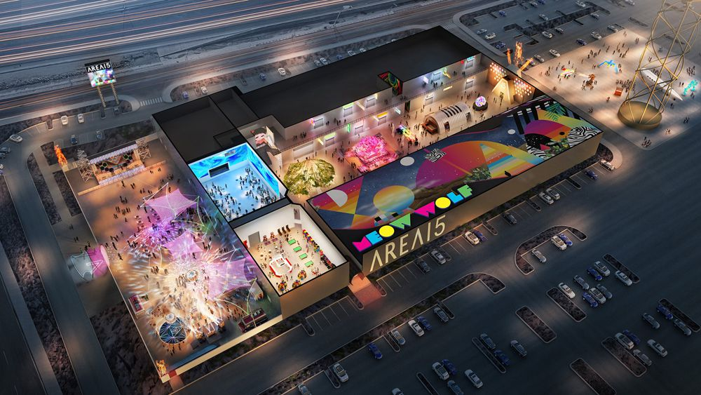 An early rendering of the massive Area15 entertainment and retail complex, including individual spaces assigned to installations.