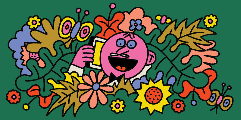 A man excitedly talks into a mobile phone while standing in the middle of many assorted colorful plants and flowers. This is an illustration.