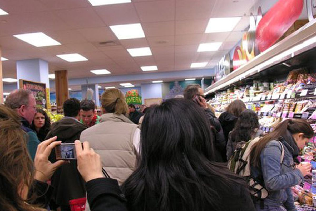 """The opening day of Trader Joe's Union Square via <a href=""""http://www.flickr.com/photos/baha1210/113792046/"""">Barbara L. Hanson</a>/Flickr"""