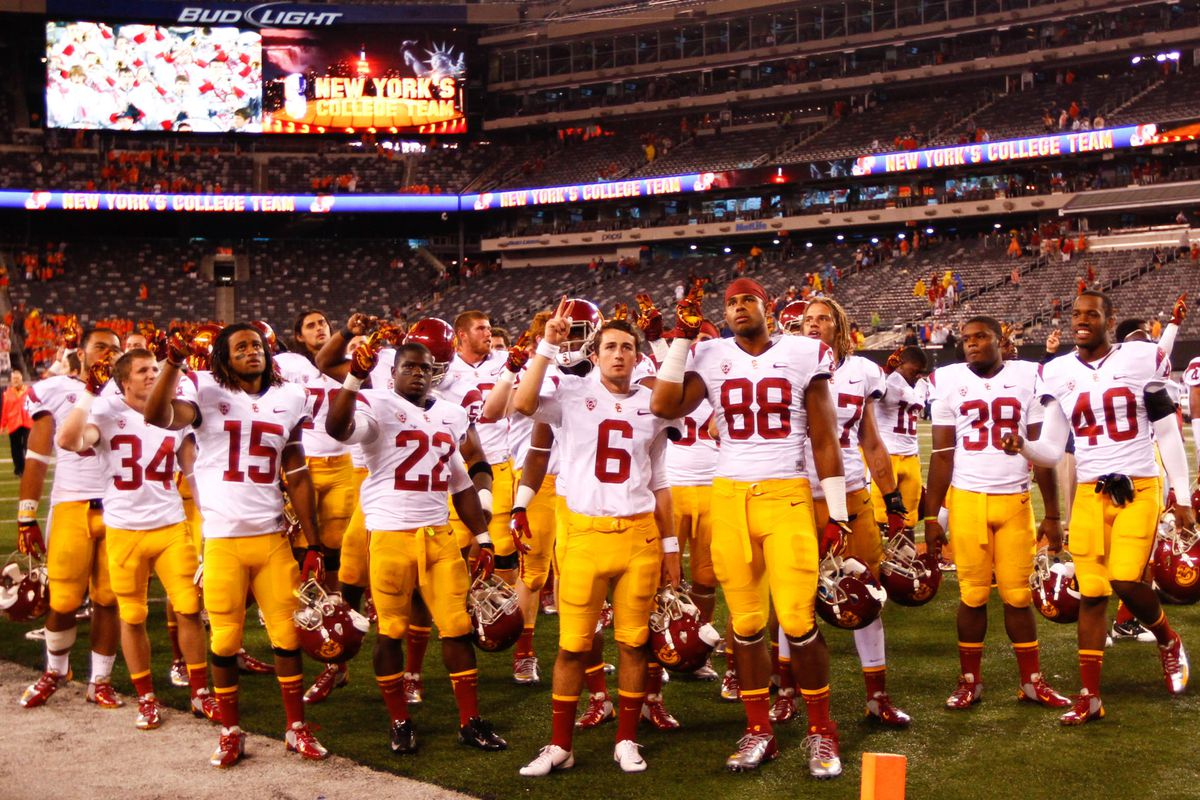 The USC Trojans are in Palo Alto today.  If they are singing Conquest tonight as in this photo, it will mean they broke their three-game losing streak to the Stanford Cardinal.