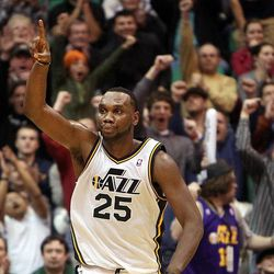 Al Jefferson of the Utah Jazz celebrates near the end of the game against Dallas as the Jazz pull ahead during NBA basketball in Salt Lake City, Monday, Jan. 7, 2013.