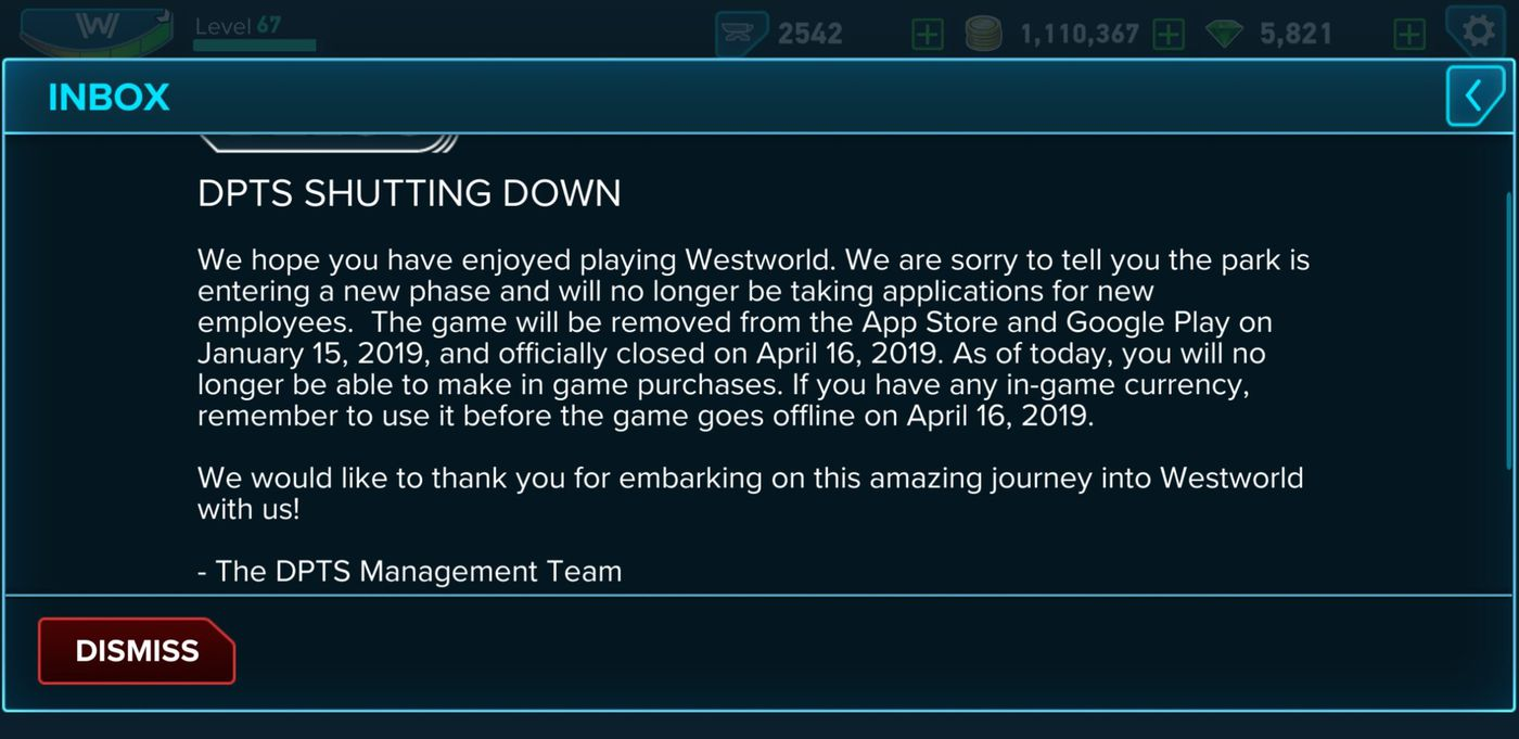 When Is Roblox Closing Down Westworld Mobile Game Is Shutting Down Following Lawsuit Settlement The Verge