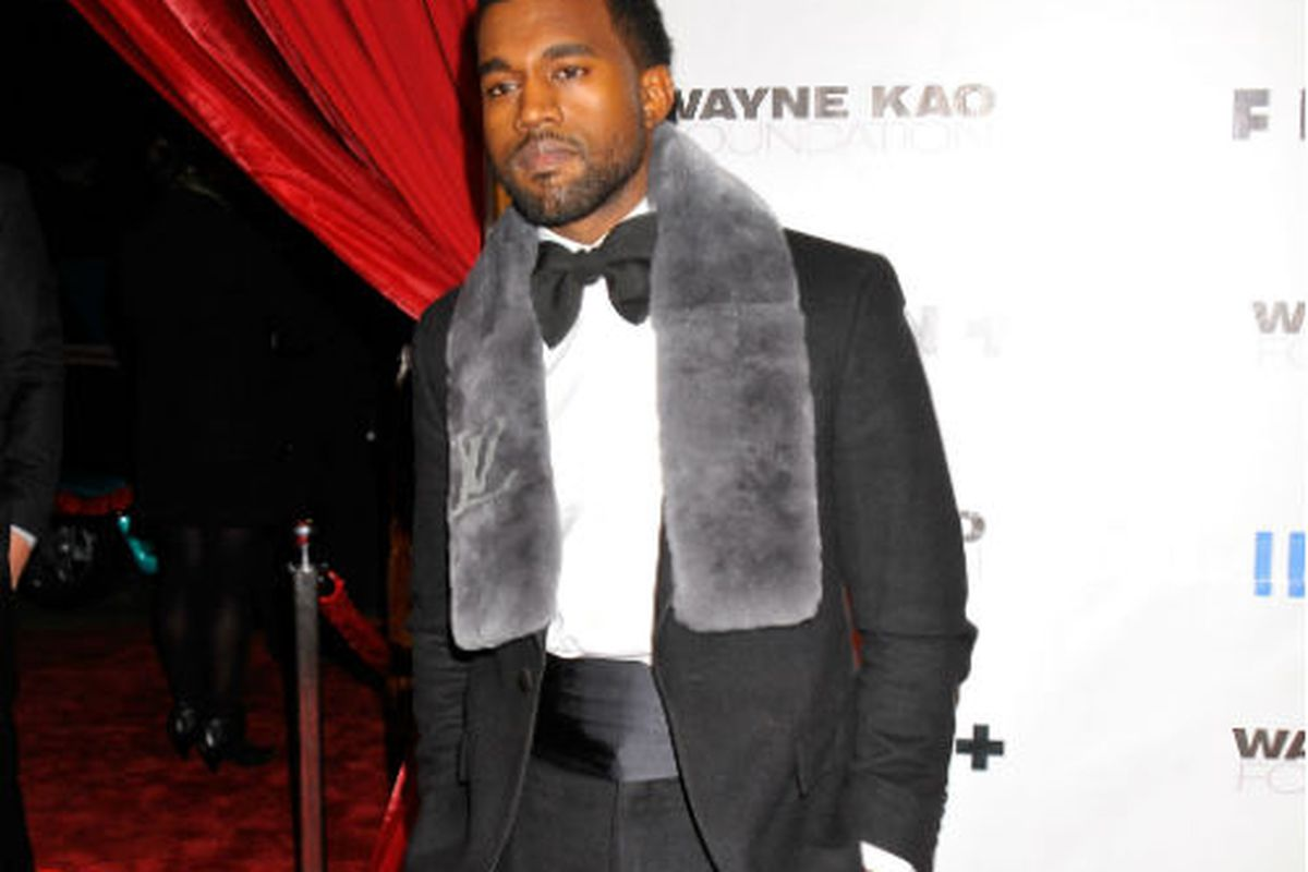 Kanye West in that fur he loves so much, via Getty