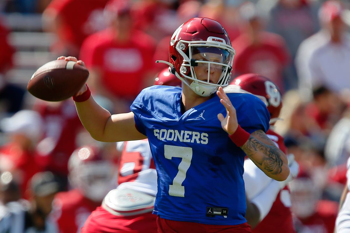 Quarterback Spencer Rattler of the Oklahoma Sooners throws against the defense during their spring game at Gaylord Family Oklahoma Memorial Stadium on April 24, 2021 in Norman, Oklahoma.