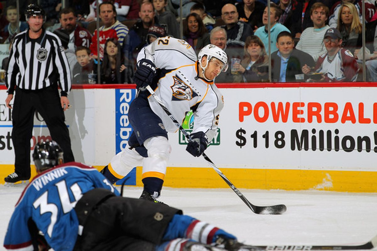 Hey, there's Alexander Sulzer! Also shown: a Colorado player in his normal position. (Photo by Doug Pensinger/Getty Images)