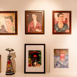 Frida Kahlo shrine of sorts in the office area.