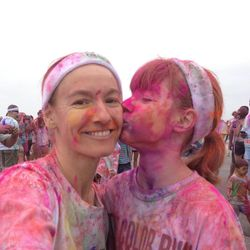Mother Amy Donaldson and daughter Daphne Brass pose after The Color Run 5K.