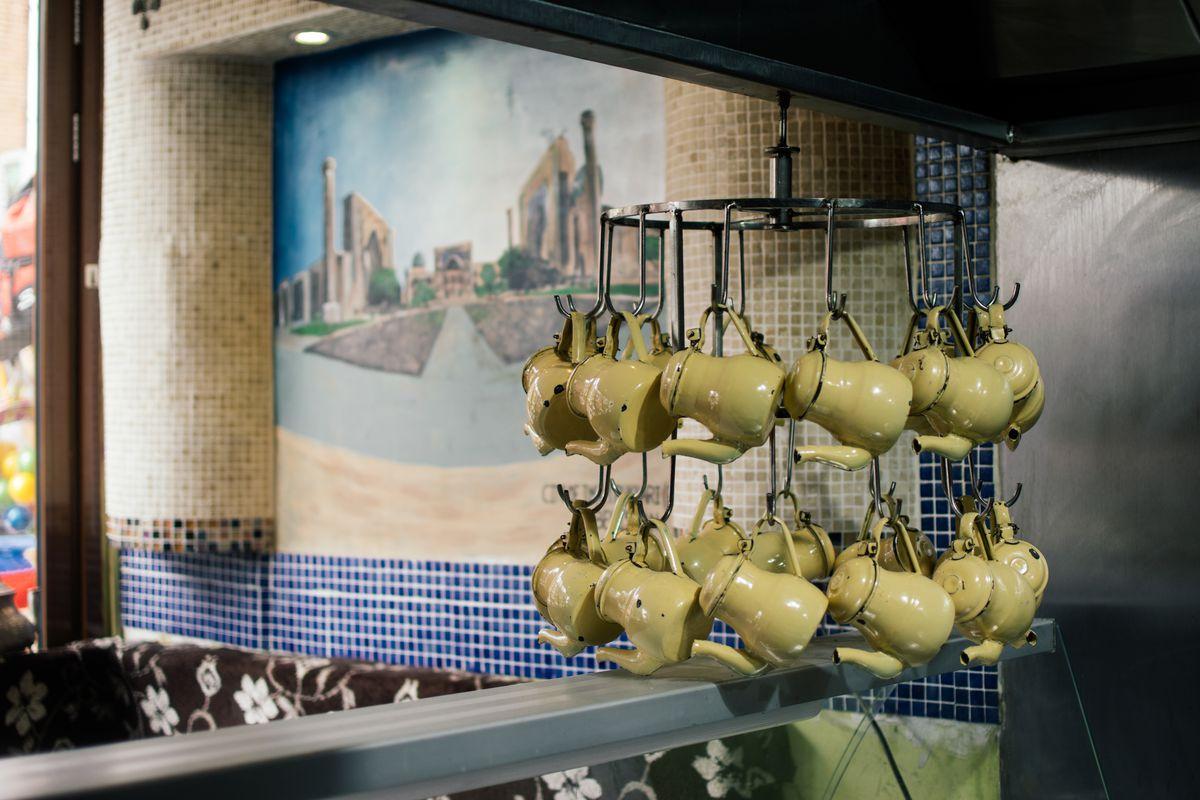 Enamel teapots at Pakistani restaurant Namak Mandi in Tooting