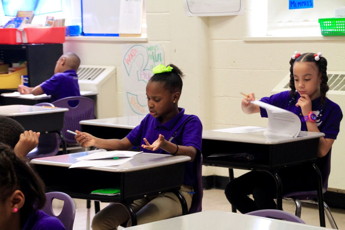 A student at Aspire Public Schools in Memphis works on a classroom assignment last April.