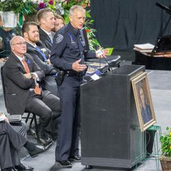 Salt Lake County Sheriff Jim Winder speaks at funeral services for Unified police officer Doug Barney at the Maverik Center in West Valley City Monday, Jan. 25, 2016.