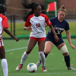 The Houston Cougars take on the UConn Huskies in a women's college soccer game at Dillon Stadium in Hartford, CT on October 10, 2019.