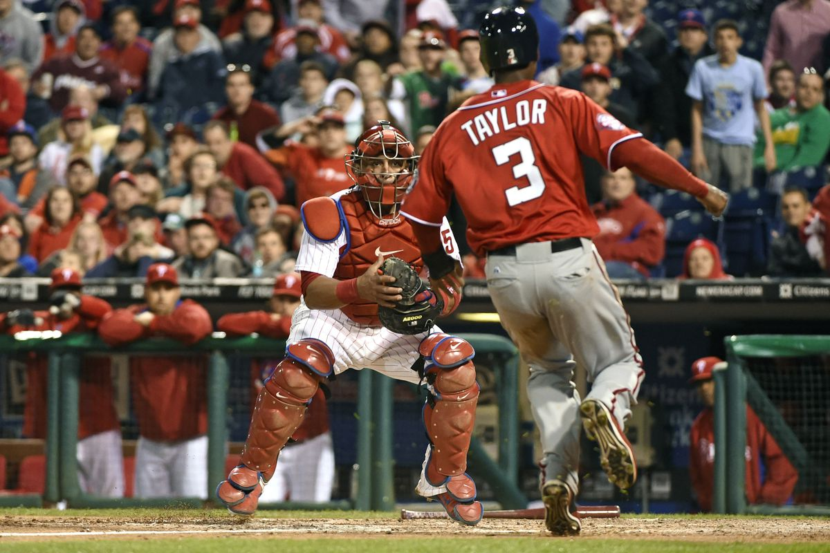 Michael A. Taylor gets thrown out by three steps on a curious send by Bob Henley in the tenth inning of the Nats 3-2 loss Saturday.