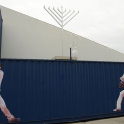 12:58 p.m. Menorah on display in front of the Cubs Store -