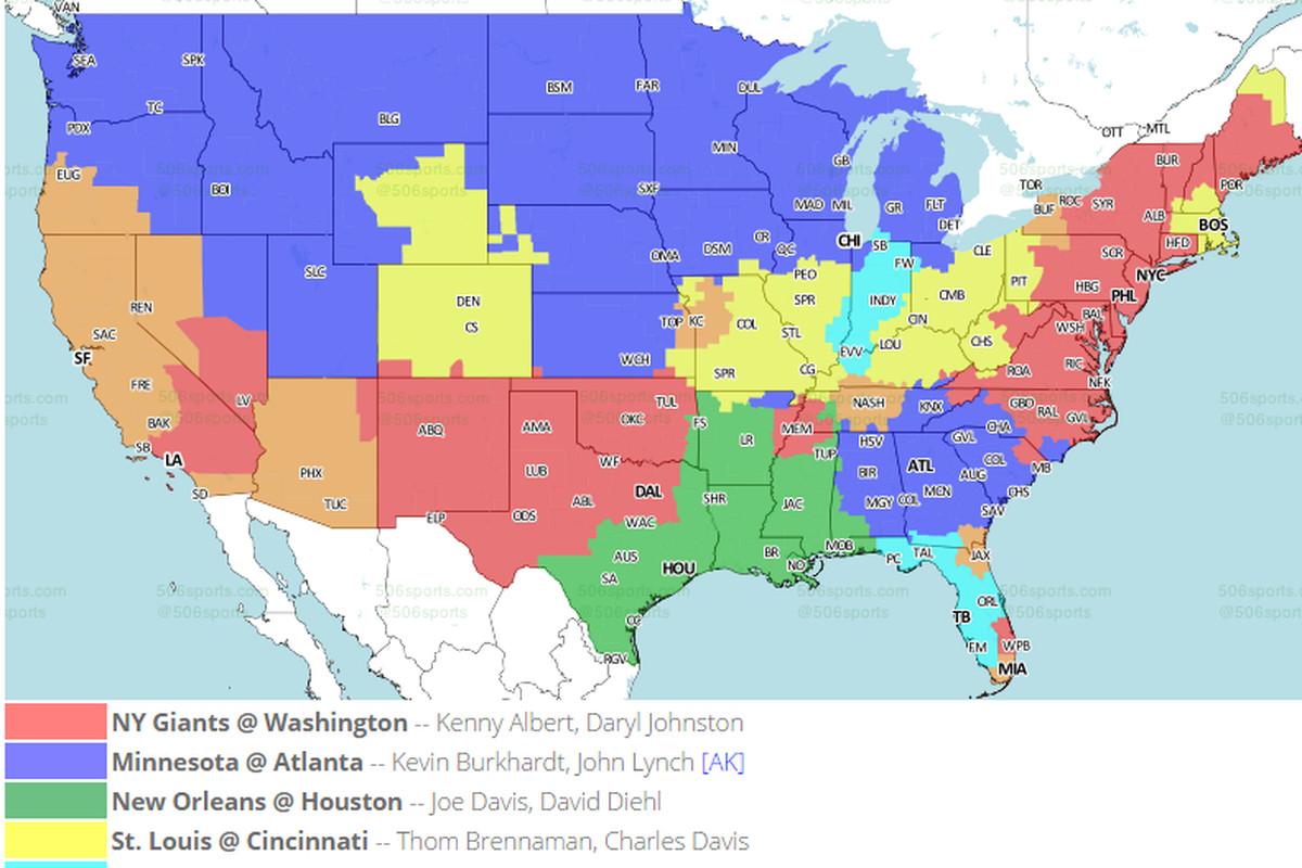 Week 12 Cincinnati Bengals vs St. Louis Rams: National NFL TV ... Cbs Nfl Coverage Map on