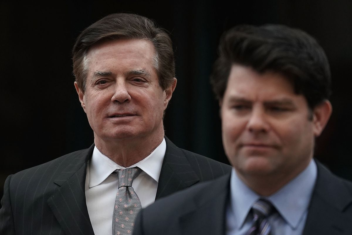 Paul Manafort appears at a courthouse in Alexandria VA in March 2018. Mueller has indicted him in both Washington DC and Virginia.        Alex Wong  Getty