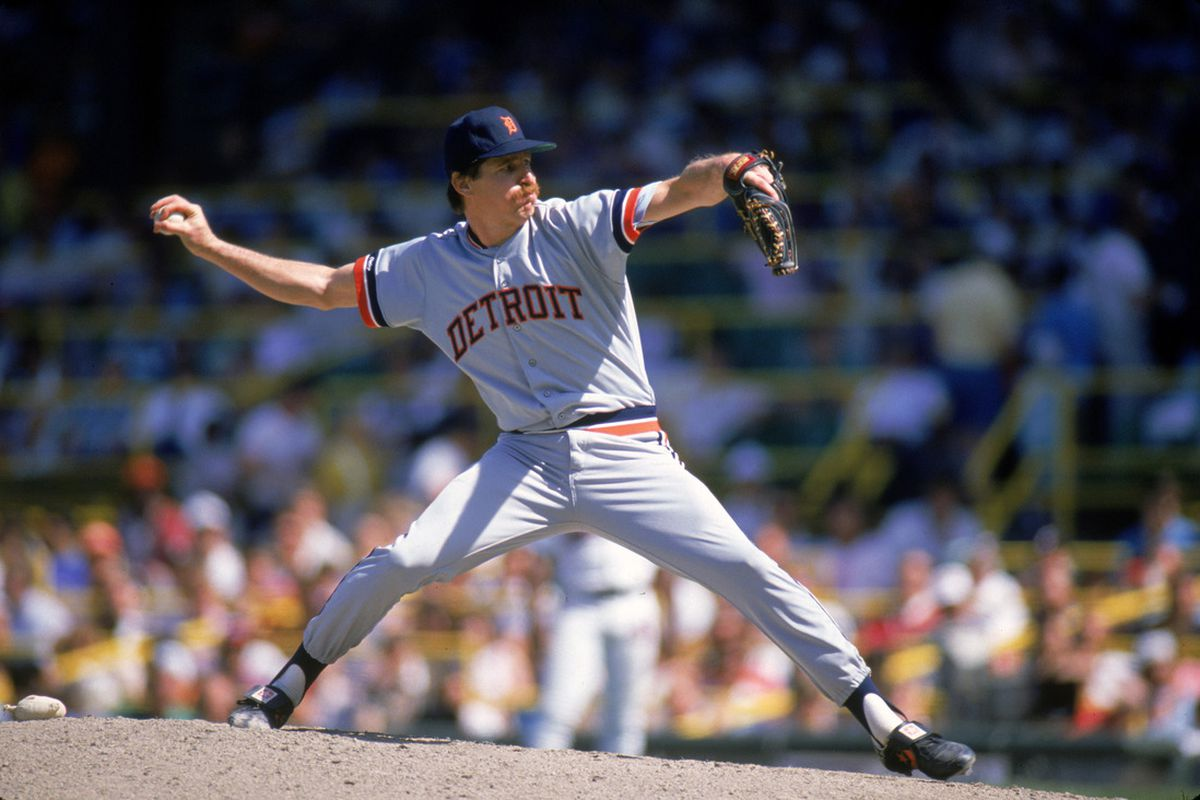 Jack Morris of the Detroit Tigers pitches during an MLB game at Comiskey Park in Chicago, Illinois. Jack Morris played for the Detroit Tigers from 1977-1990. (Photo by Ron Vesely/MLB Photos via Getty Images)