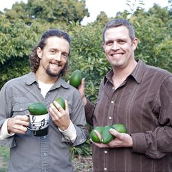 """""""In Search of Food"""" host Scott Pampuch, right, with singer and vegan Jason Mraz at Mraz's avacado farm in California."""