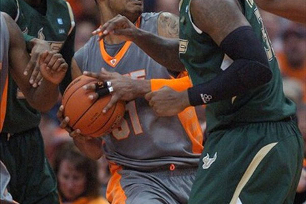 Feb 22, 2012; Syracuse, NY, USA; Syracuse Orange center Fab Melo (51) drives to the basket against the South Florida Bulls during the first half of a game at the Carrier Dome.   Mandatory Credit: Mark Konezny-US PRESSWIRE