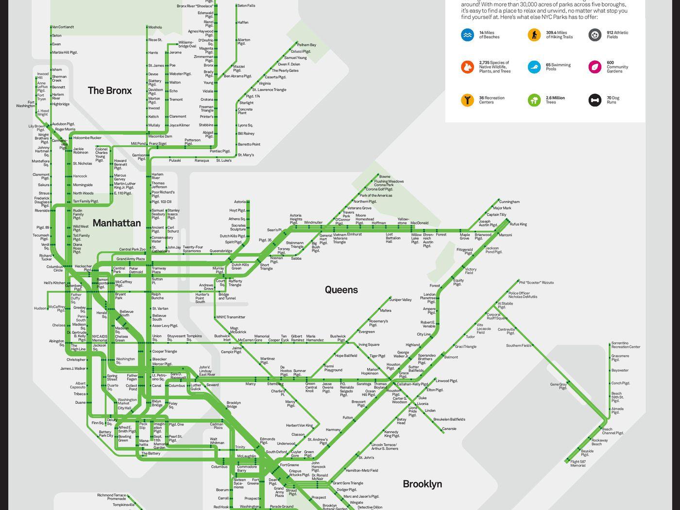Subway Map 6.Nyc S Subway Map Gets A Park Friendly Makeover Curbed Ny