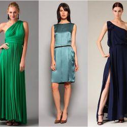 From left: Twobirds bridesmaid jersey ballgown, $199 (orig. $330); Dolce & Gabbana satin exposed seaming dress, $499 (orig. $1,540); BCBGMaxAzria silk long ruffle dress, $199 (orig. $494)