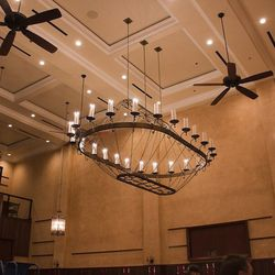 Massive chandeliers hang over the main dining room.