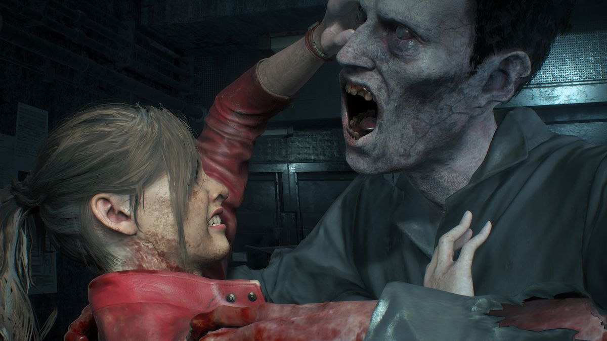 Claire Redfield holds off a hungry zombie in a screenshot of the Resident Evil 2 remake.