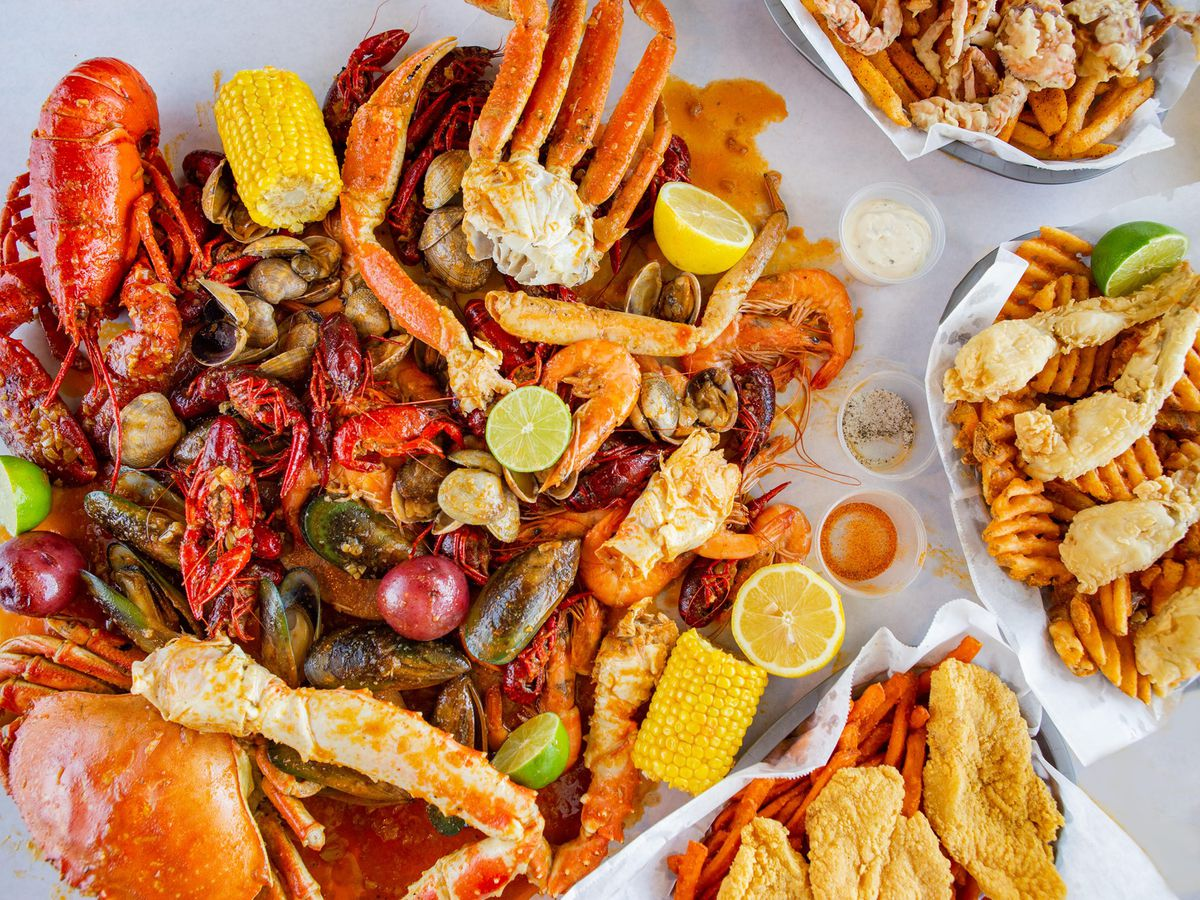 An assortment of seafood on a table