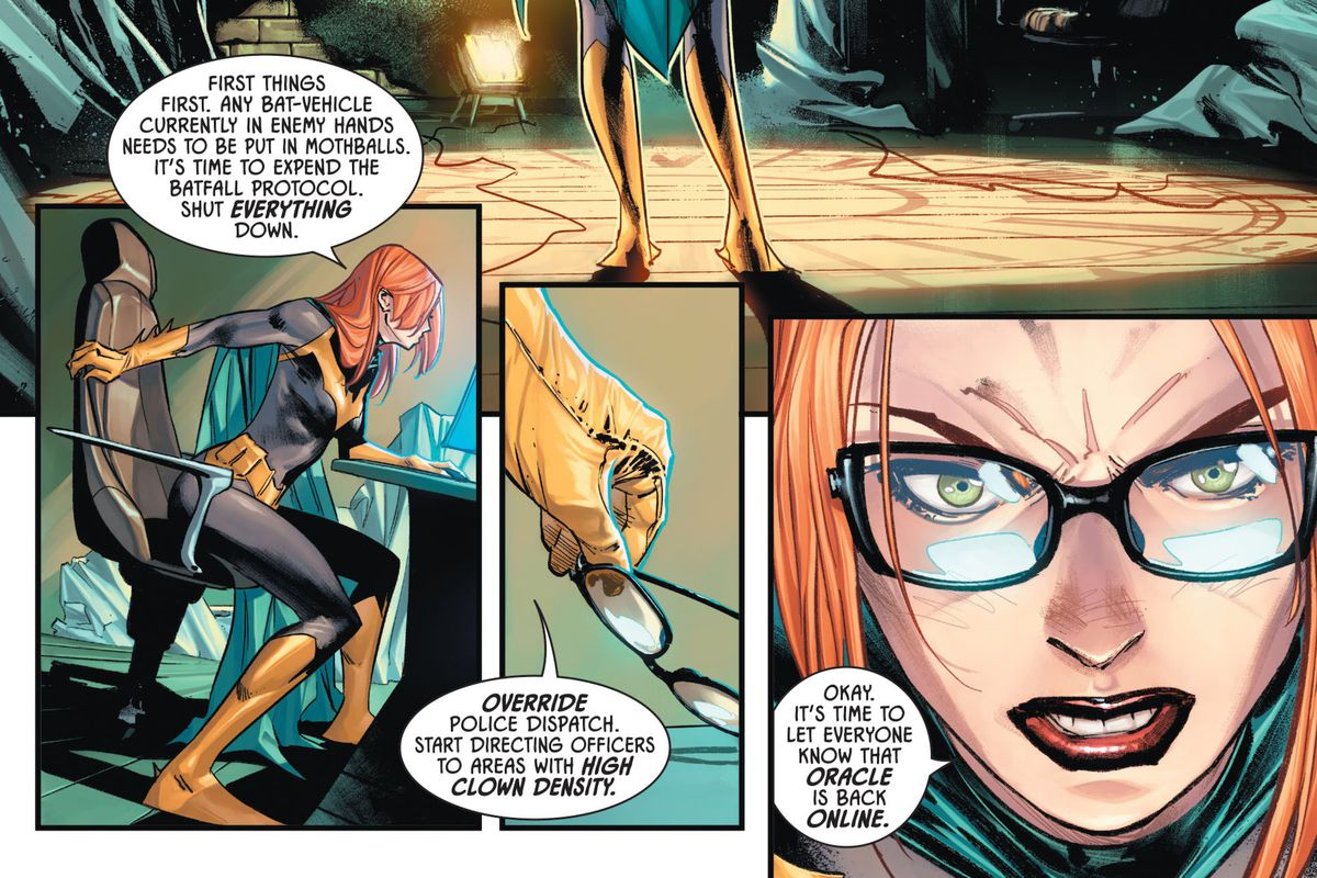 "Batgirl, sans her mask, sits down at a computer console in her clocktower hideout, and puts on her glasses. ""Okay,"" she says, ""It's time to let everyone know that Oracle is back online,"" in Batman #100, DC Comics (2020)."