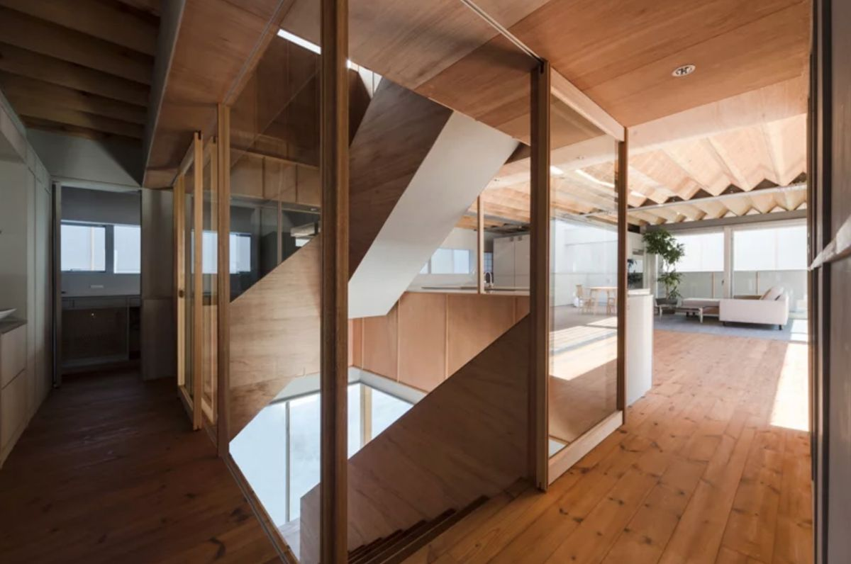 Wooden staircase leading from one level to next