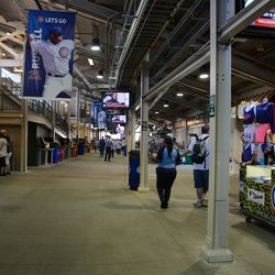 1:27 p.m. The third-base line concourse -