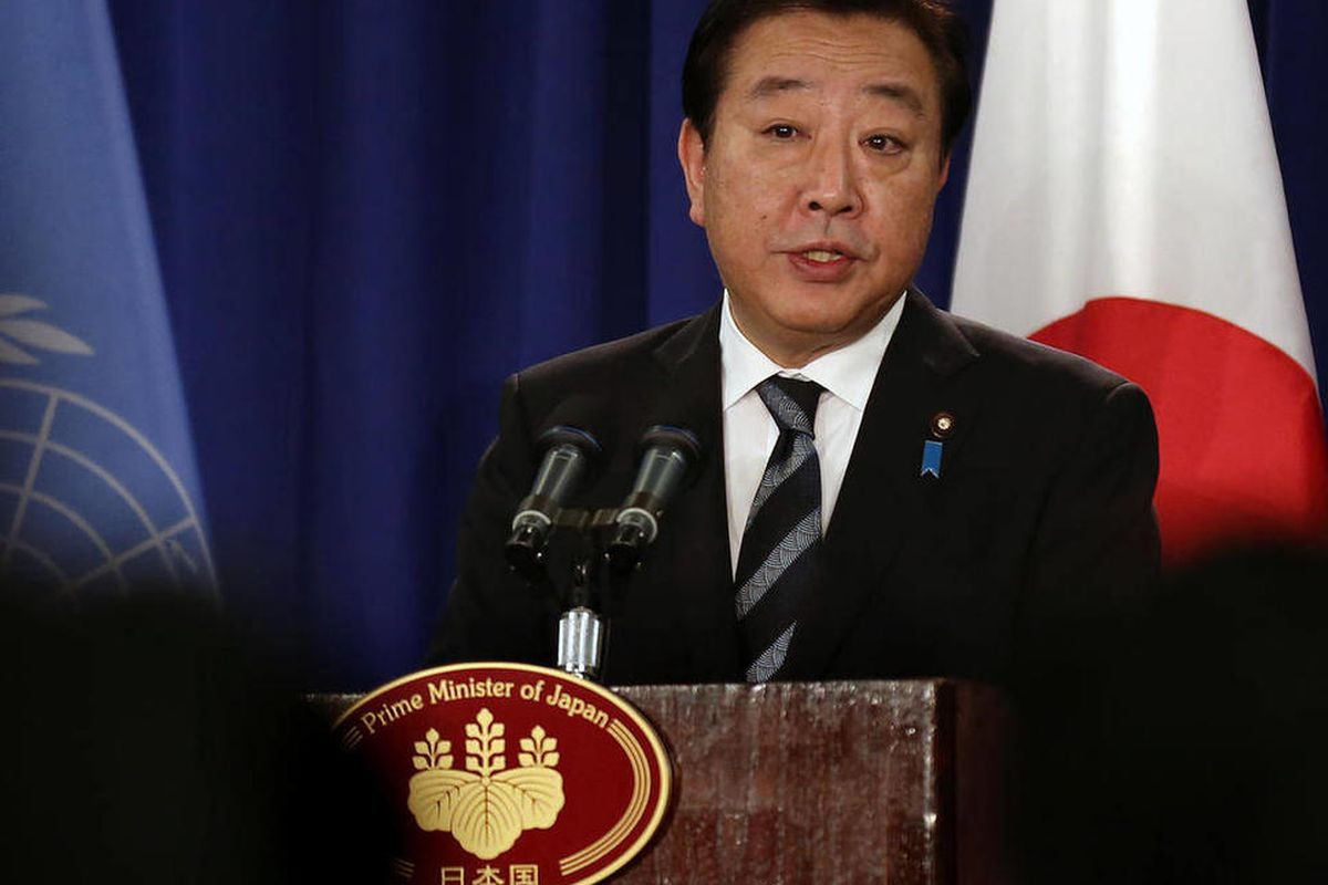 Prime Minister of Japan Yoshihiko Noda addresses a news conference in New York Wednesday, Sept. 26, 2012.