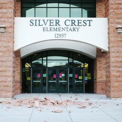 Damage to the entrance of Silver Crest Elementary School in Herriman is pictured after a after a 5.7 magnitude earthquake centered in Magna hit earlyon Wednesday, March 18, 2020.