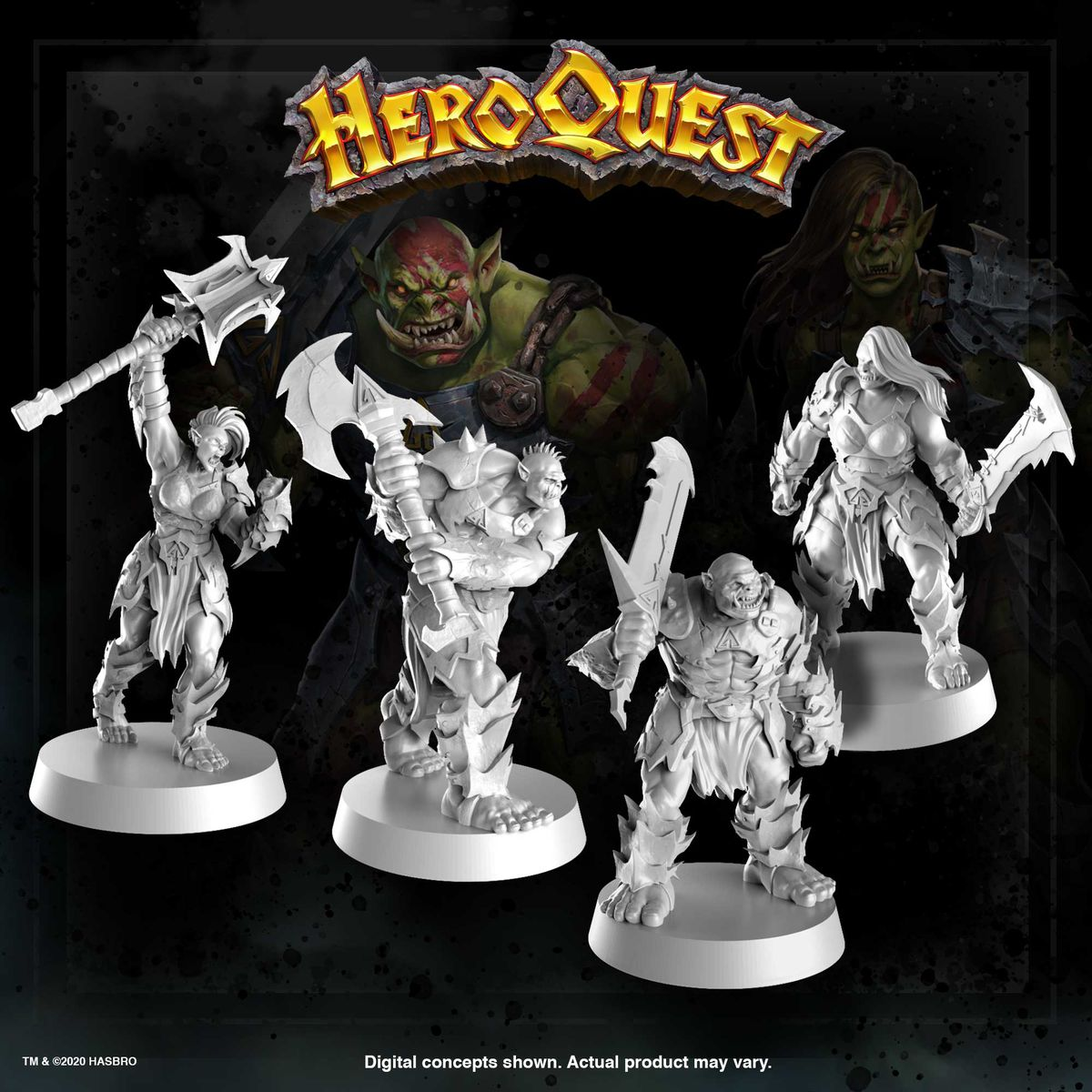 Alternate sculpts for the game's ork characters include two female-presenting images.