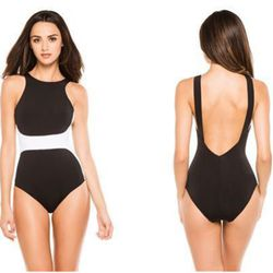 """<b>Jets by Jessika Allen</b> One Piece High Neck in black/white, <a href=""""http://www.everythingbutwater.com/browse/products/jets-by-jessika-allen/classique/59228+j1906+3533.html"""">$151</a> at Everything But Water"""