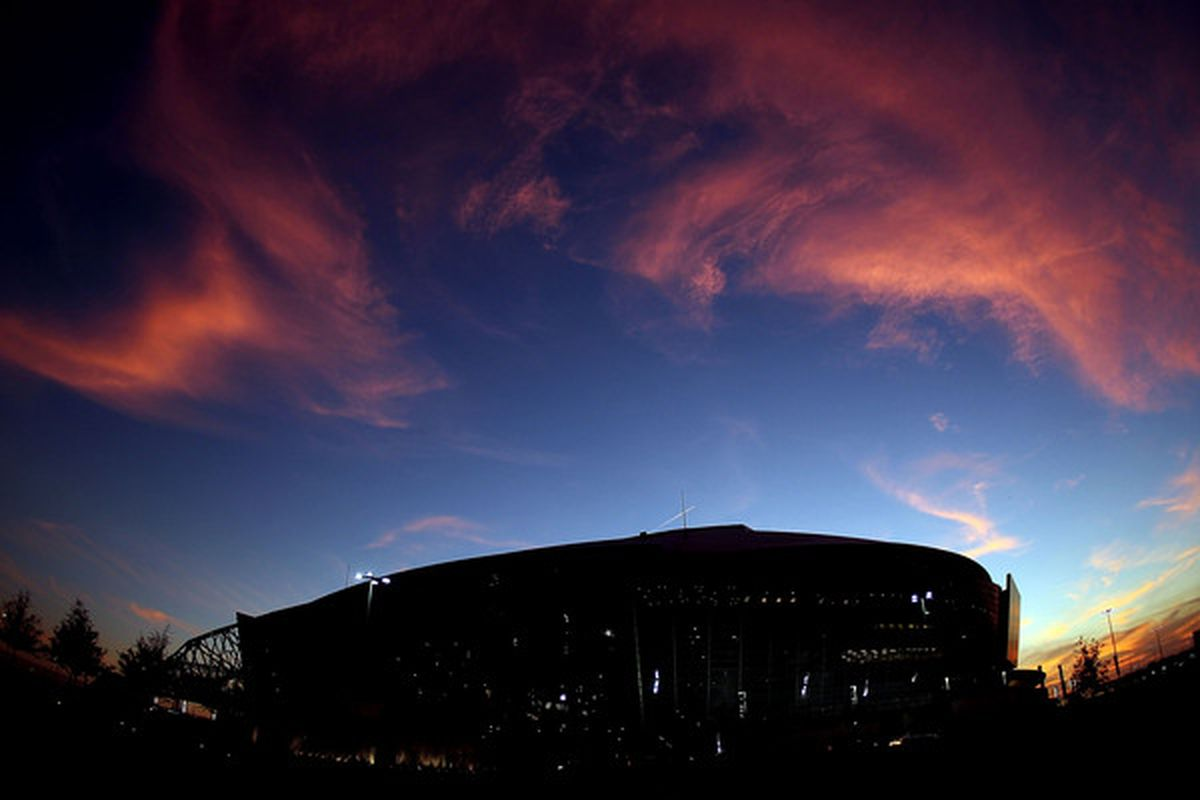 ARLINGTON TX - DECEMBER 19:  A general view as the sun sets over Cowboys Stadium on December 19 2010 in Arlington Texas.  (Photo by Ronald Martinez/Getty Images)