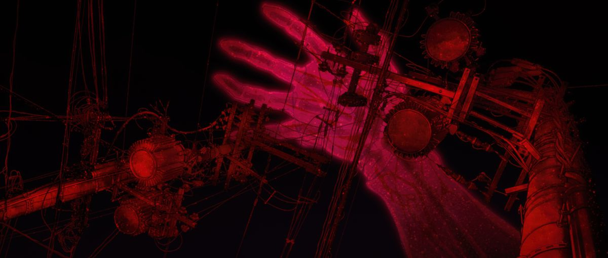 A giant red hand comes down from the black sky onto red electrical wires in Evangelion: 3.0+1.0 Thrice Upon a Time