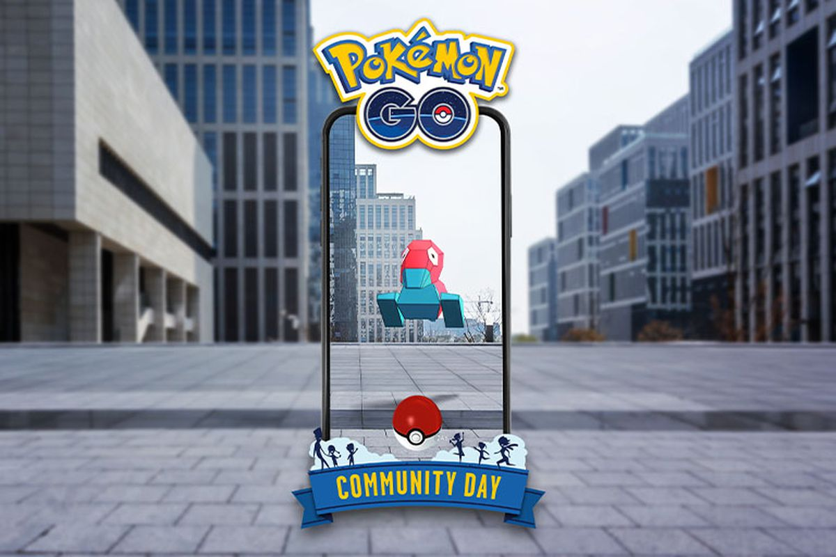 Porygon sits on a phone screen depicting a city in AR