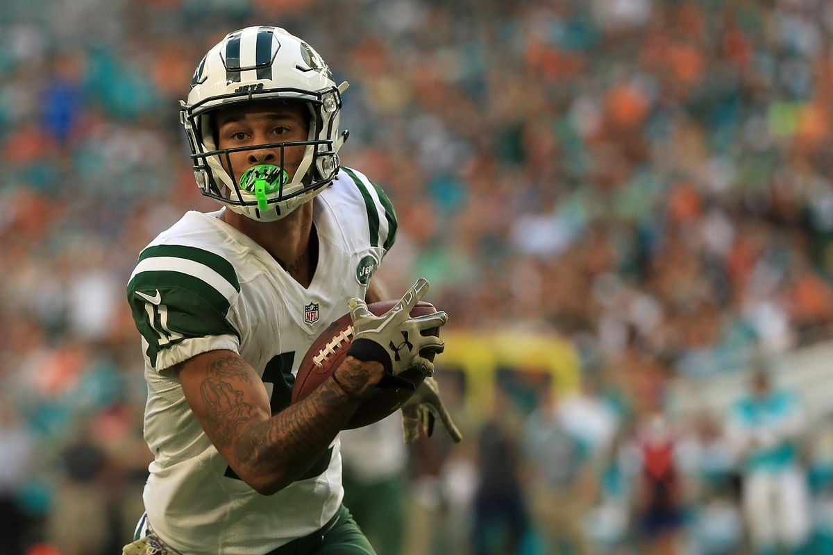 Robby Anderson of the New York Jets makes a catch during a game against the Miami Dolphins at Hard Rock Stadium on November 6, 2016 in Miami Gardens, Florida.